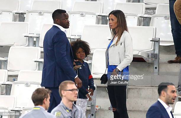 Goalkeeper of France Steve Mandanda meets his wife Sarah Mandanda their son after the UEFA EURO 2016 Group A match between France and Albania at...