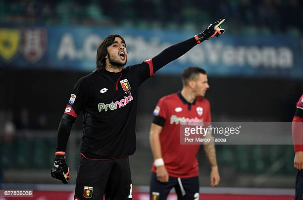 Goalkeeper of Genoa CFC Mattia Perin gestures during the Serie A match between AC ChievoVerona and Genoa CFC at Stadio Marc'Antonio Bentegodi on...