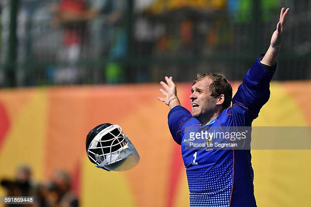 Goalkeeper of Germany Nicolas Jacobi celebrates after saving the shot from Sander De Winj to win the penalty shoot out and Bronze medal during the...