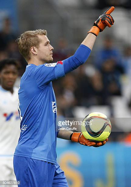 Goalkeeper of Guingamp Jonas Lossl in action during the French Ligue 1 match between Olympique de Marseille and En Avant Guingamp at New Stade...