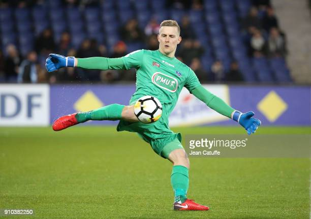 Goalkeeper of Guingamp Karl-Johan Johnsson during the French National Cup match between Paris Saint Germain and En Avant Guingamp at Parc des Princes...