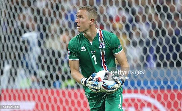 Goalkeeper of Iceland Hannes Halldorsson in action during the UEFA Euro 2016 quarter final match between France and Iceland at Stade de France on...