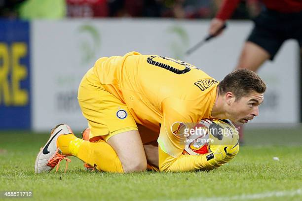 Goalkeeper of Inter Milan Juan Pablo Carrizo in action during the UEFA Europa League Group F match between AS SaintEtienne and FC Internazionale...