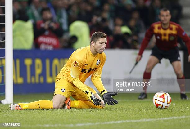 Goalkeeper of Inter Milan Juan Pablo Carrizo in action during the UEFA Europa League Group F match between AS SaintEtienne and Inter Milan on...