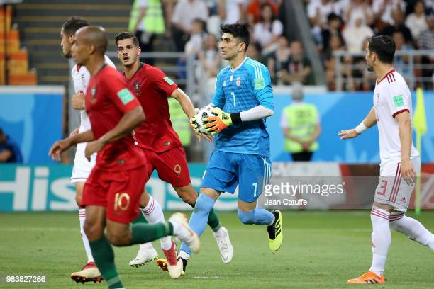 Goalkeeper of Iran Alireza Beiranvand during the 2018 FIFA World Cup Russia group B match between Iran and Portugal at Mordovia Arena on June 25 2018...