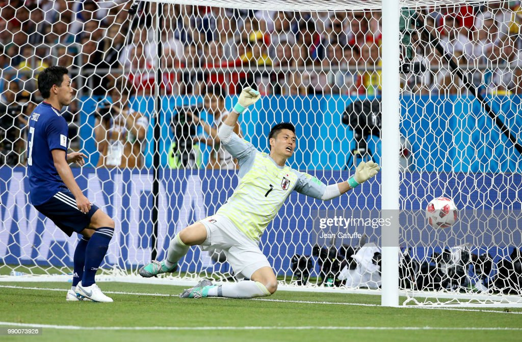Goalkeeper of Japan Eiji Kawashima the first goal of Belgium by Jan Vertonghen during the 2018 FIFA World Cup Russia Round of 16 match between Belgium and Japan at Rostov Arena on July 2, 2018 in Rostov-on-Don, Russia.