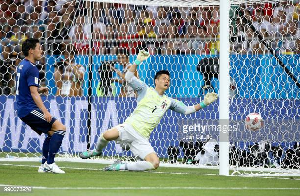 Goalkeeper of Japan Eiji Kawashima the first goal of Belgium by Jan Vertonghen during the 2018 FIFA World Cup Russia Round of 16 match between...