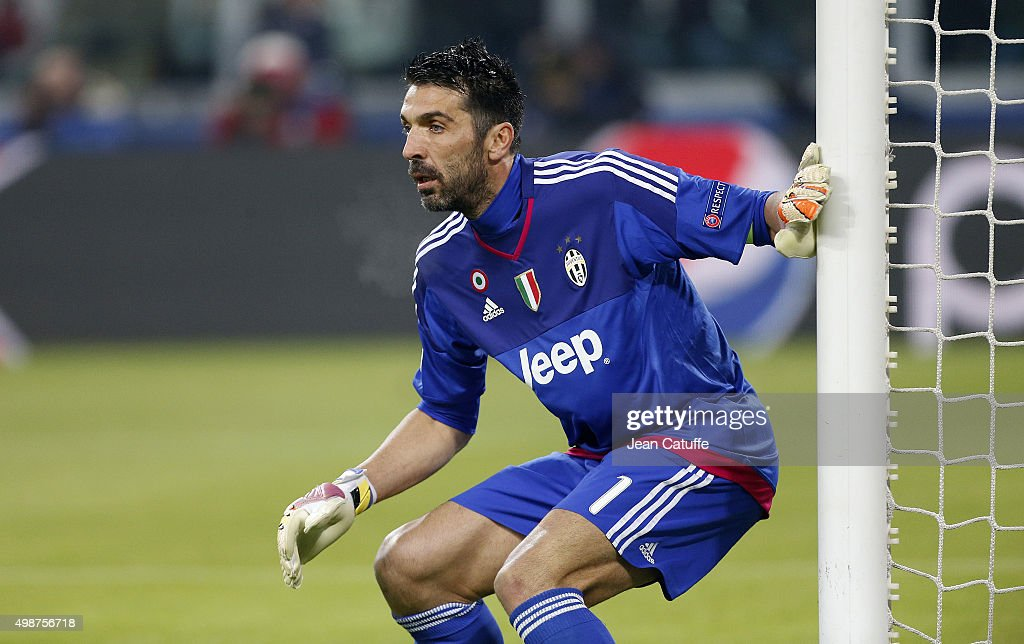 Goalkeeper of Juventus Gianluigi Buffon in action during the UEFA Champions League match between Juventus Turin and Manchester City FC at Juventus Stadium on November 25, 2015 in Turin, Italy.