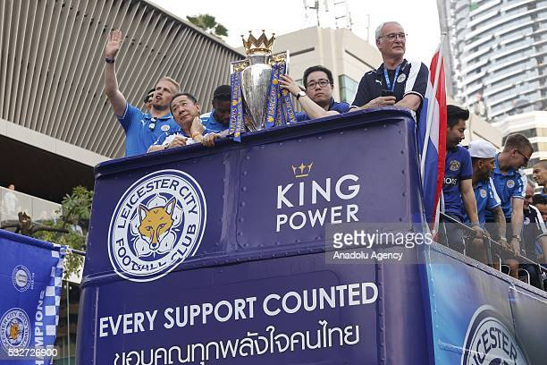 Goalkeeper of Leicester City Kasper Schmeichel chairman of King Power International Group and owner of Leicester City FC Vichai Srivaddhanaprabha Wes...