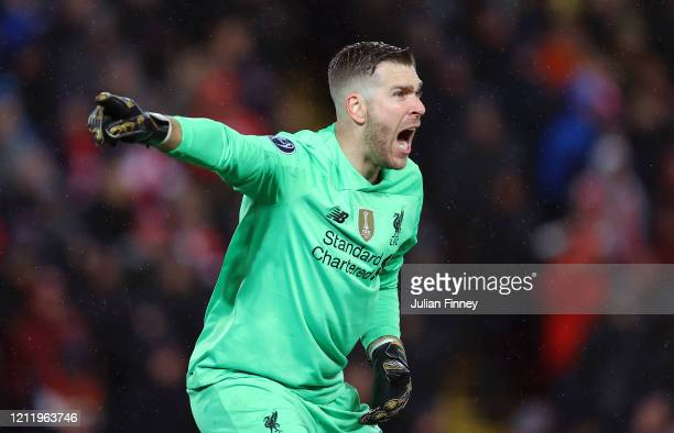 Goalkeeper of Liverpool Adrian shouts instructions during the UEFA Champions League round of 16 second leg match between Liverpool FC and Atletico...