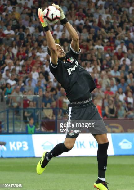 Goalkeeper of Lokomotiv Marinato Gilerme catches the ball during the Olimp Super Cup of Russia CSKA moscow won the Olimp Super Cup of Russia with a...