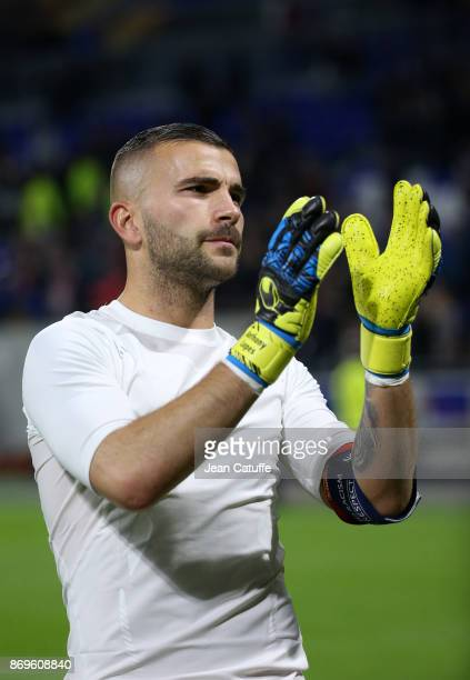 Goalkeeper of Lyon Anthony Lopes celebrates the victory following the UEFA Europa League group E match between Olympique Lyonnais and Everton FC at...