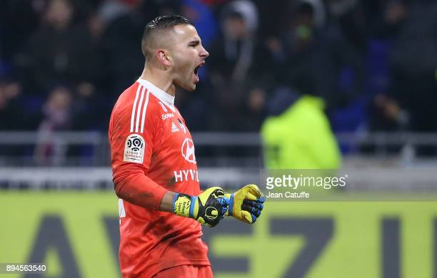 Goalkeeper of Lyon Anthony Lopes celebrates the victory following the French Ligue 1 match between Olympique Lyonnais and Olympique de Marseille at...