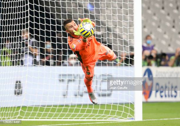Goalkeeper of Lyon Anthony Lopes during the French League Cup final between Paris Saint-Germain and Olympique Lyonnais at Stade de France on July 31,...