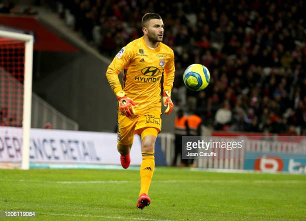 Goalkeeper of Lyon Anthony Lopes during the Ligue 1 match between Lille OSC and Olympique Lyonnais at Stade Pierre Mauroy on March 8, 2020 in...