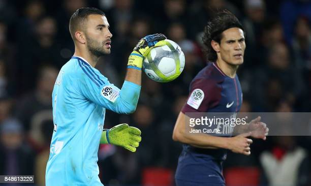 Goalkeeper of Lyon Anthony Lopes Edinson Cavani of PSG during the French Ligue 1 match between Paris Saint Germain and Olympique Lyonnais at Parc des...