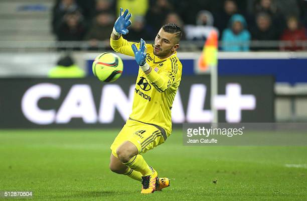 Goalkeeper of Lyon Anthony Lopes in action during the French Ligue 1 match between Olympique Lyonnais and Paris SaintGermain at Parc Olympique...