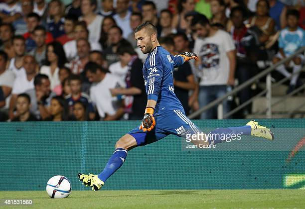 Goalkeeper of Lyon Anthony Lopes in action during the friendly match between Olympique Lyonnais and AC Milan at Stade de Gerland on July 18 2015 in...