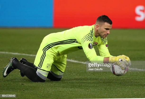 Goalkeeper of Lyon Anthony Lopes in action during the UEFA Europa League Round of 16 second leg match between AS Roma and Olympique Lyonnais at...