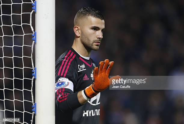 Goalkeeper of Lyon Anthony Lopes looks on during the French Ligue 1 match between Olympique Lyonnais and AS SaintEtienne at Stade de Gerland on...