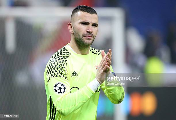 Goalkeeper of Lyon Anthony Lopes thanks the supporters following the UEFA Champions League match between Olympique Lyonnais and Sevilla FC at Parc OL...