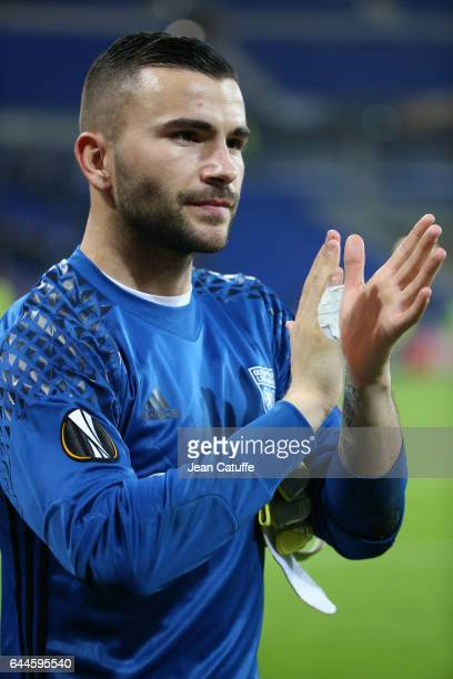 Goalkeeper of Lyon Anthony Lopes thanks the supporters following the UEFA Europa League Round of 32 second leg match between Olympique Lyonnais and...
