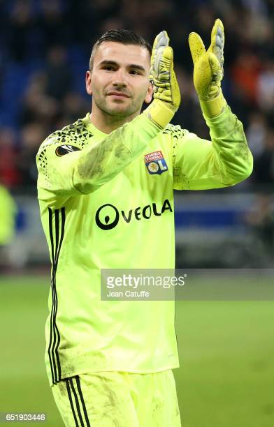 Goalkeeper of Lyon Anthony Lopes thanks the supporters following the UEFA Europa League Round of 16 first leg match between Olympique Lyonnais and AS...