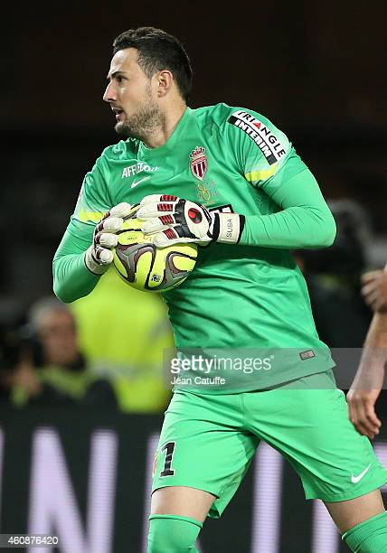 Goalkeeper of Monaco Danijel Subasic in action during the French Ligue 1 match between AS Monaco FC v Olympique de Marseille OM at Stade Louis II on...