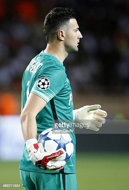 Goalkeeper of Monaco Danijel Subasic in action during the UEFA Champions League play off round 2nd leg between AS Monaco and Valencia CF at Stade...