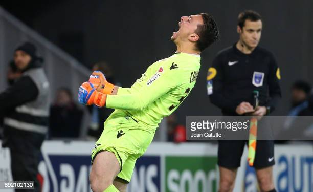 Goalkeeper of OGC Nice Yoan Cardinale celebrates the victory following the penalty shootout during the French League Cup match between Lille OSC and...