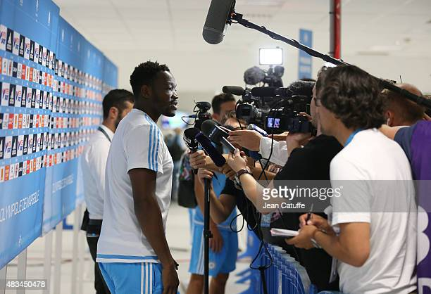 Goalkeeper of OM Steve Mandanda answers to the media about Coach Marcelo Bielsa resignation after the French Ligue 1 match between Olympique de...