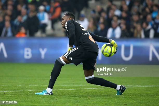 Goalkeeper of OM Steve Mandanda during the French Ligue 1 match between Olympique de Marseille and AS Monaco at Stade Velodrome on January 28 2018 in...