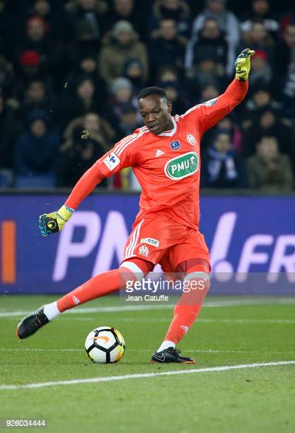 Goalkeeper of OM Steve Mandanda during the French National Cup match between Paris Saint Germain and Olympique de Marseille at Parc des Princes...