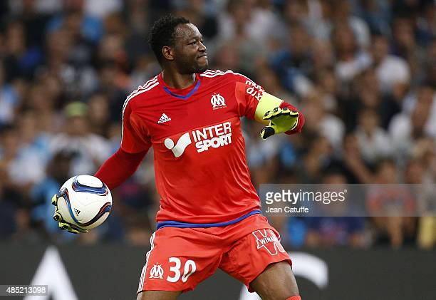 Goalkeeper of OM Steve Mandanda in action during the French Ligue 1 match between Olympique de Marseille and Troyes ESTAC at New Stade Velodrome on...
