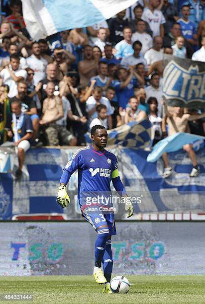 Goalkeeper of OM Steve Mandanda in action in front of his supporters during the French Ligue 1 match between Stade de Reims and Olympique de...