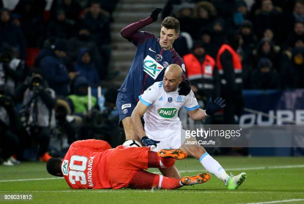 Goalkeeper of OM Steve Mandanda Thomas Meunier of PSG Aymen Abdennour of OM during the French National Cup match between Paris Saint Germain and...
