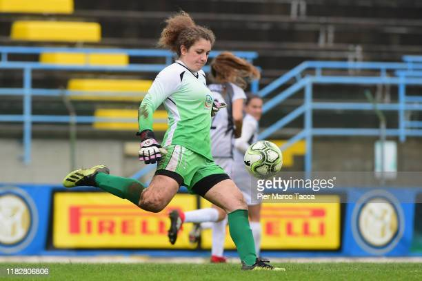 Goalkeeper of Orobiche Women Lia Lonni in action during the Women Serie A match between FC Internazionale and Orobica at Campo Sportivo F Chinetti on...