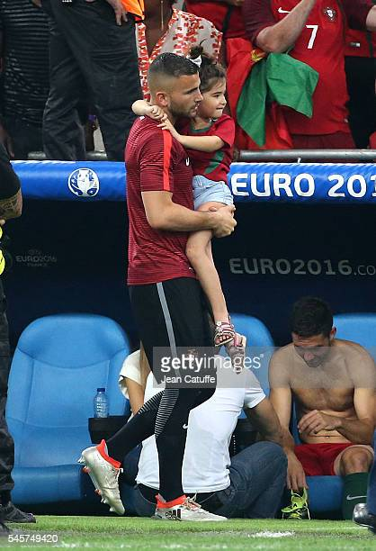 Goalkeeper of Portugal Anthony Lopes and his daughter Eva Lopes celebrate the victory following the UEFA Euro 2016 quarter final match between Poland...