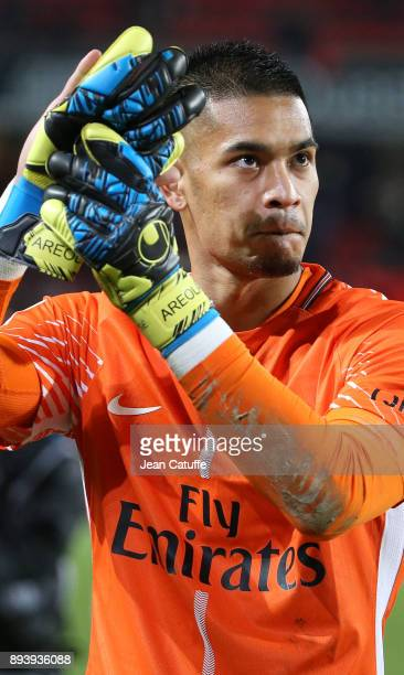 Goalkeeper of PSG Alphonse Areola celebrates the victory following the French Ligue 1 match between Stade Rennais and Paris Saint Germain at Roazhon...