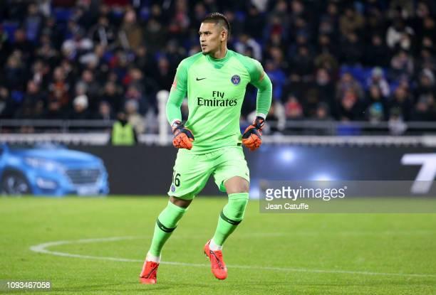 Goalkeeper of PSG Alphonse Areola during the french Ligue 1 match between Olympique Lyonnais and Paris SaintGermain at Groupama Stadium on February 3...