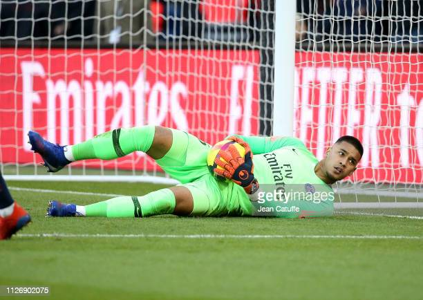 Goalkeeper of PSG Alphonse Areola during the French Ligue 1 match between Paris SaintGermain and Nimes Olympique at Parc des Princes stadium on...
