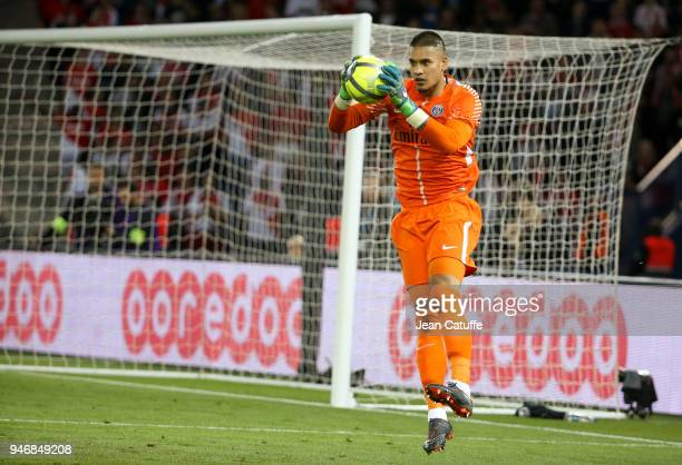 Goalkeeper of PSG Alphonse Areola during the Ligue 1 match between Paris Saint Germain and AS Monaco at Parc des Princes stadium on April 15 2018 in...