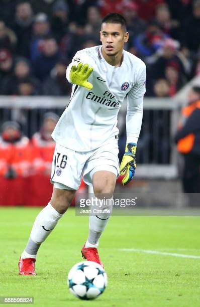 Goalkeeper of PSG Alphonse Areola during the UEFA Champions League group B match between Bayern Muenchen and Paris SaintGermain at Allianz Arena on...