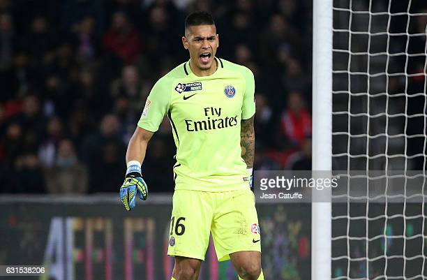 Goalkeeper of PSG Alphonse Areola in action during the French League Cup match between Paris SaintGermain and FC Metz at Parc des Princes stadium on...