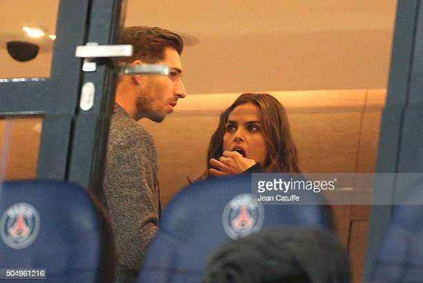 Goalkeeper of PSG Kevin Trapp and his girlfriend Brazilian model Izabel Goulart attend the French League Cup match between Paris SaintGermain and...