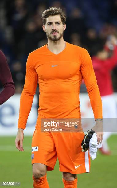 Goalkeeper of PSG Kevin Trapp following the French National Cup match between Paris Saint Germain and En Avant Guingamp at Parc des Princes on...