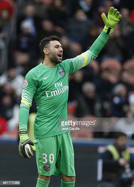 Goalkeeper of PSG Salvatore Sirigu in action during the French Ligue 1 match between Paris SaintGermain FC and Evian Thonon Gaillard FC at Parc des...