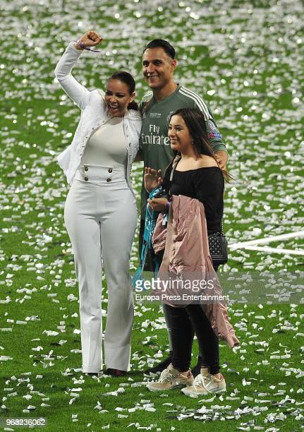 Goalkeeper of Real Madrid Keylor Navas his wife Andrea Salas and their daughter Daniela Navas Salas during the Real Madrid team celebration after...