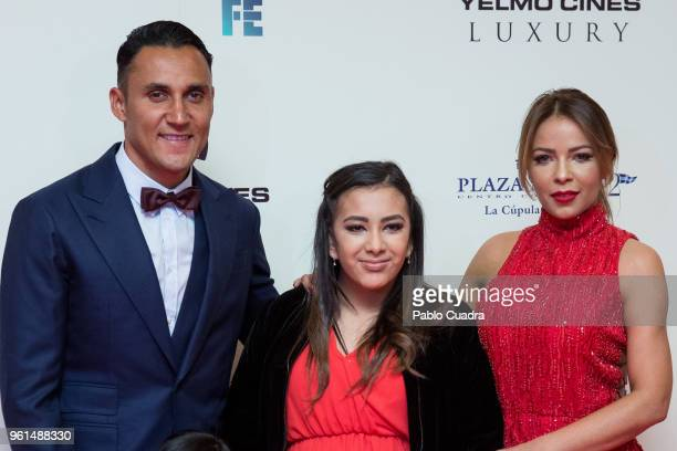 Goalkeeper of Real Madrid Keylor Navas his wife Andrea Salas and their son Mateo Navas Salas attend the 'Hombre De Fe' premiere at Yelmo cinema on...