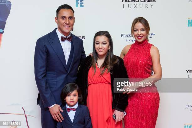 Goalkeeper of Real Madrid Keylor Navas his wife Andrea Salas their son Mateo Navas Salas and their daughter Daniela Navas Salas attend the 'Hombre De...